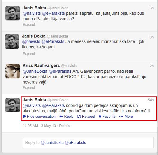 sarakste ar @JanisBokta tviterī